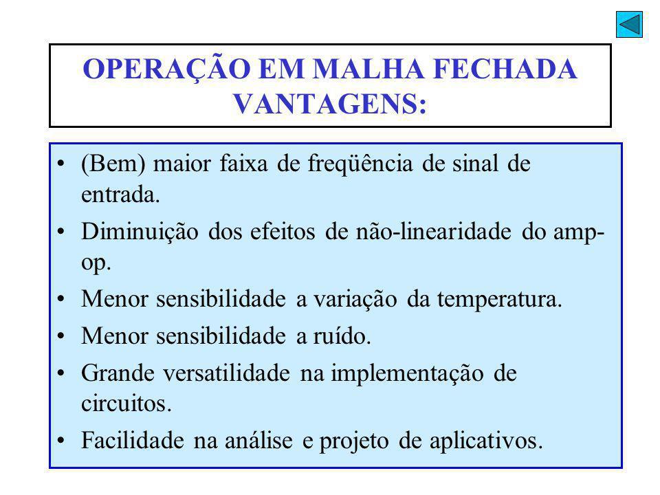 OPERAÇÃO EM MALHA FECHADA VANTAGENS: (Bem) maior faixa de freqüência de sinal de entrada. Diminuição dos efeitos de não-linearidade do amp- op. Menor