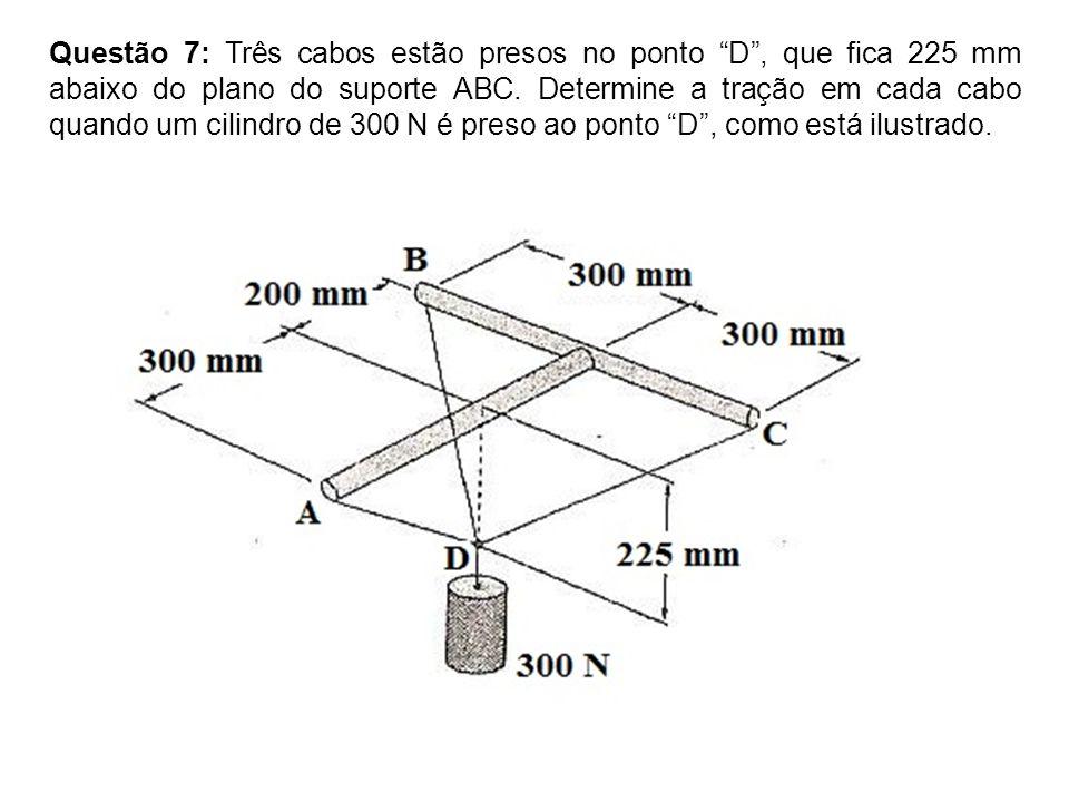 Questão 7: Três cabos estão presos no ponto D, que fica 225 mm abaixo do plano do suporte ABC.