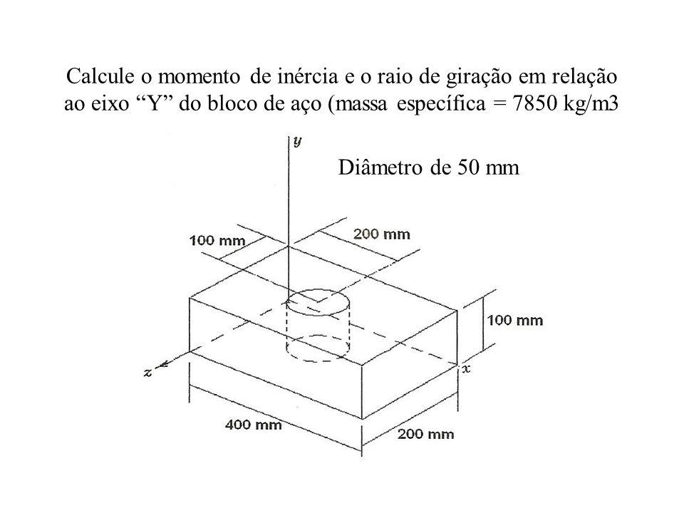 Calcule o momento de inércia e o raio de giração em relação ao eixo Y do bloco de aço (massa específica = 7850 kg/m3 Diâmetro de 50 mm