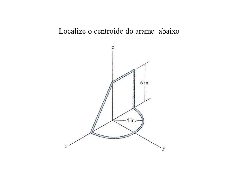 Localize o centroide do arame abaixo