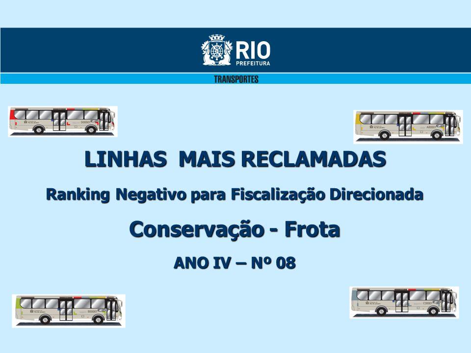 LINHAS MAIS RECLAMADAS Ranking Negativo para Fiscalização Direcionada Conservação - Frota ANO IV – Nº 08