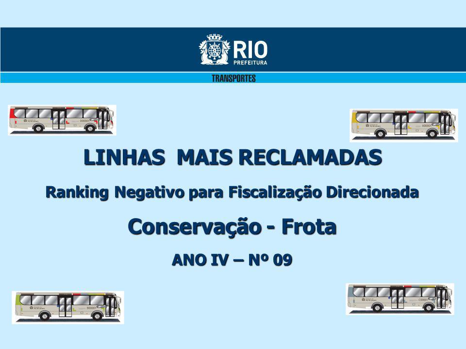 LINHAS MAIS RECLAMADAS Ranking Negativo para Fiscalização Direcionada Conservação - Frota ANO IV – Nº 09
