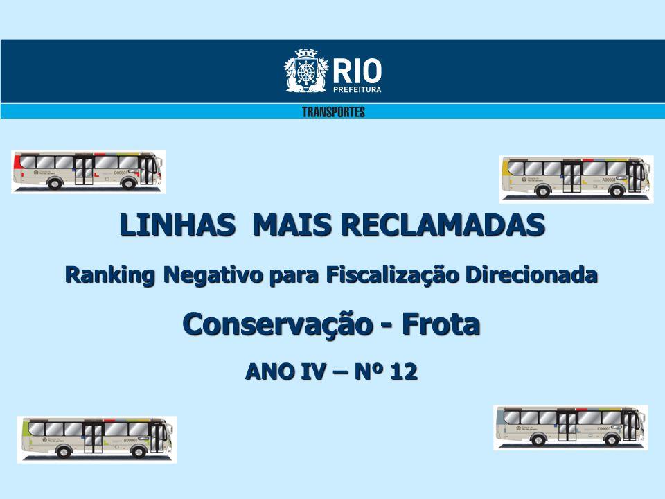 LINHAS MAIS RECLAMADAS Ranking Negativo para Fiscalização Direcionada Conservação - Frota ANO IV – Nº 12