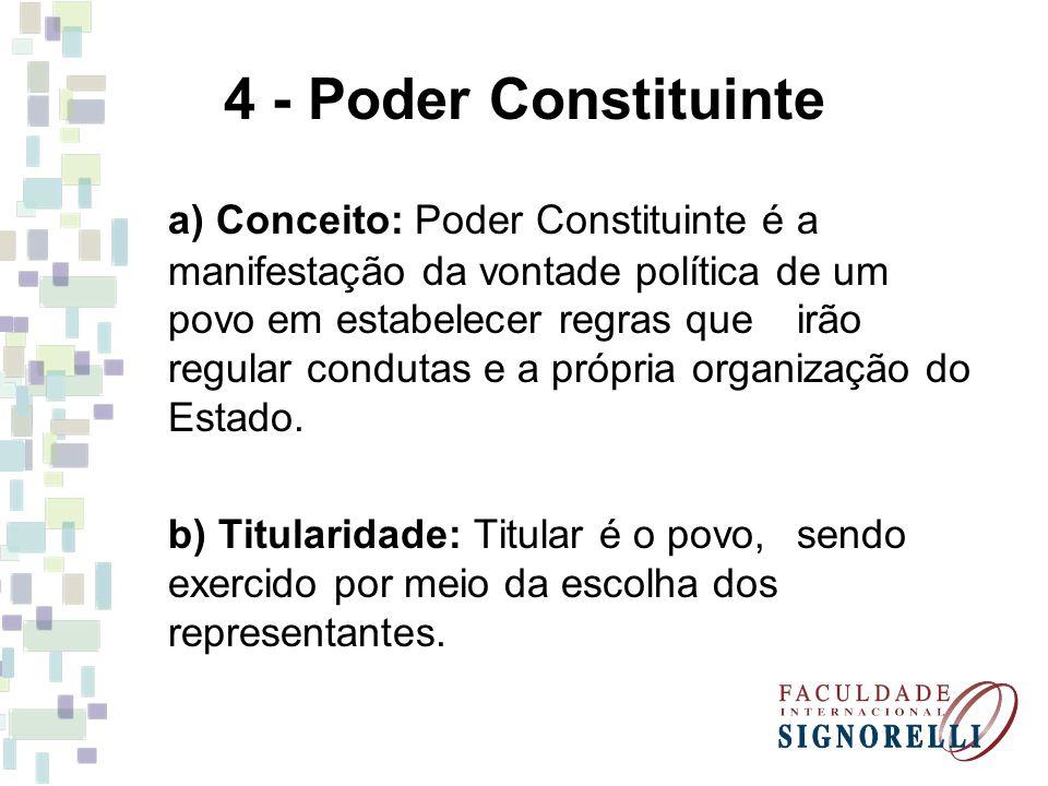 4 - Poder Constituinte a) Conceito: Poder Constituinte é a manifestação da vontade política de um povo em estabelecer regras que irão regular condutas