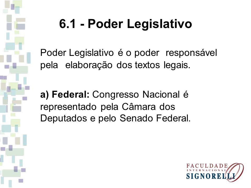 6.1 - Poder Legislativo Poder Legislativo é o poder responsável pela elaboração dos textos legais. a) Federal: Congresso Nacional é representado pela