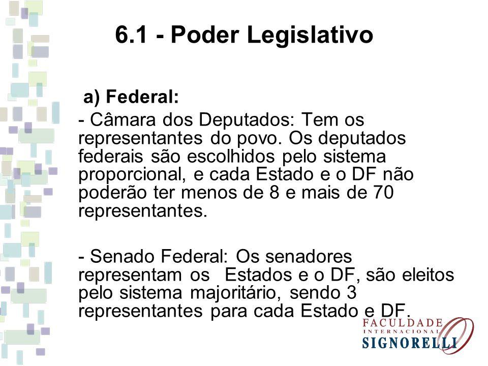 6.1 - Poder Legislativo a) Federal: - Câmara dos Deputados: Tem os representantes do povo. Os deputados federais são escolhidos pelo sistema proporcio