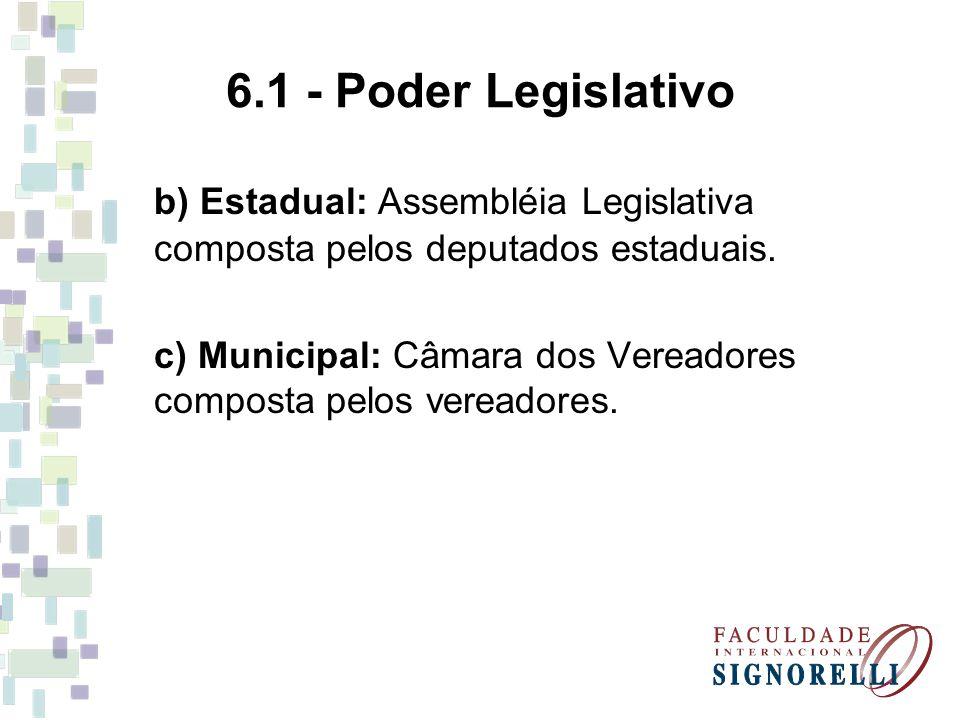 6.1 - Poder Legislativo b) Estadual: Assembléia Legislativa composta pelos deputados estaduais. c) Municipal: Câmara dos Vereadores composta pelos ver