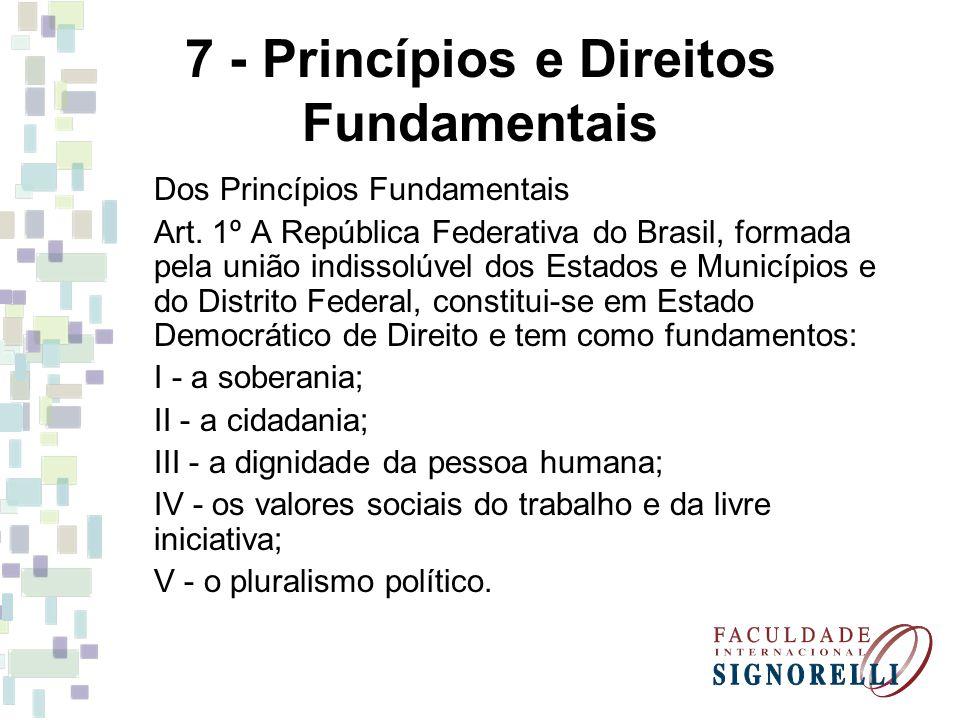7 - Princípios e Direitos Fundamentais Dos Princípios Fundamentais Art. 1º A República Federativa do Brasil, formada pela união indissolúvel dos Estad
