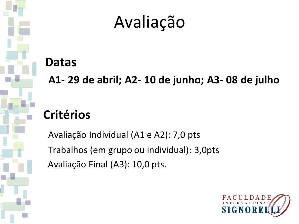 Avaliação Datas A1- 29 de abril; A2- 10 de junho; A3- 08 de julho Critérios Avaliação Individual (A1 e A2): 7,0 pts Trabalhos (em grupo ou individual)