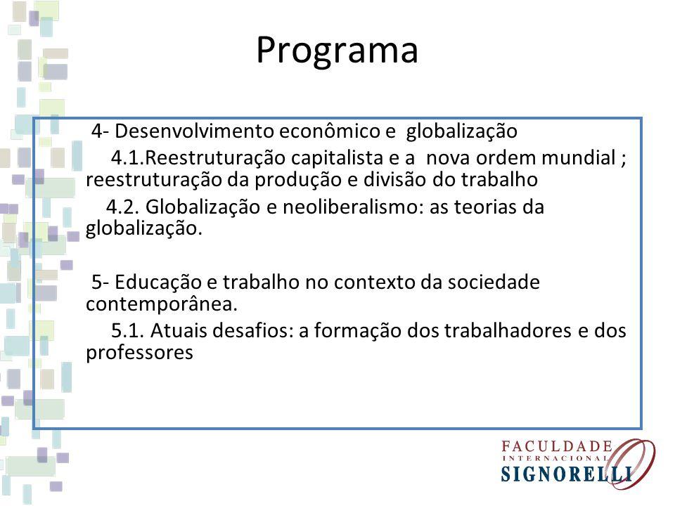 Programa 4- Desenvolvimento econômico e globalização 4.1.Reestruturação capitalista e a nova ordem mundial ; reestruturação da produção e divisão do t