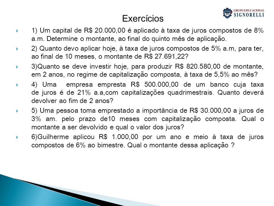 Exercícios 1) Um capital de R$ 20.000,00 é aplicado à taxa de juros compostos de 8% a.m. Determine o montante, ao final do quinto mês de aplicação. 2)