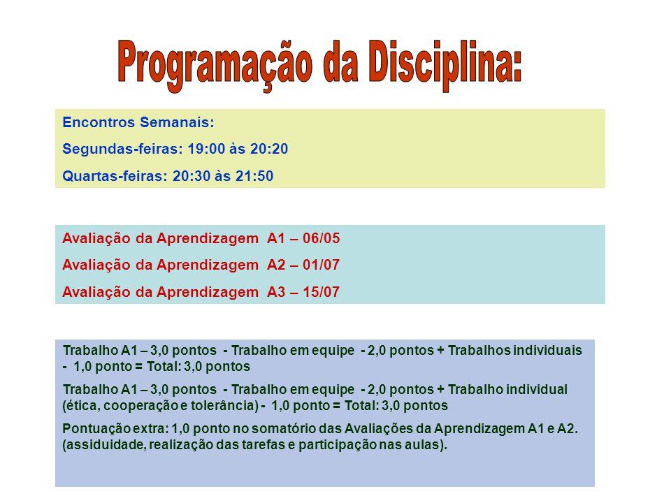 Encontros Semanais: Segundas-feiras: 19:00 às 20:20 Quartas-feiras: 20:30 às 21:50 Avaliação da Aprendizagem A1 – 06/05 Avaliação da Aprendizagem A2 –