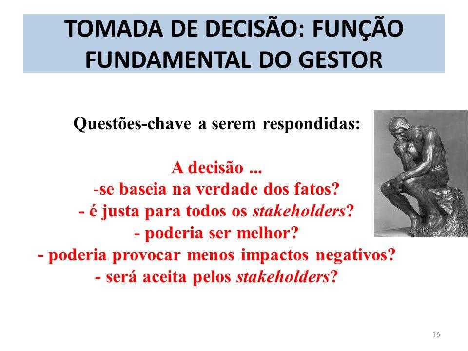 TOMADA DE DECISÃO: FUNÇÃO FUNDAMENTAL DO GESTOR 16 Questões-chave a serem respondidas: A decisão... -se baseia na verdade dos fatos? - é justa para to