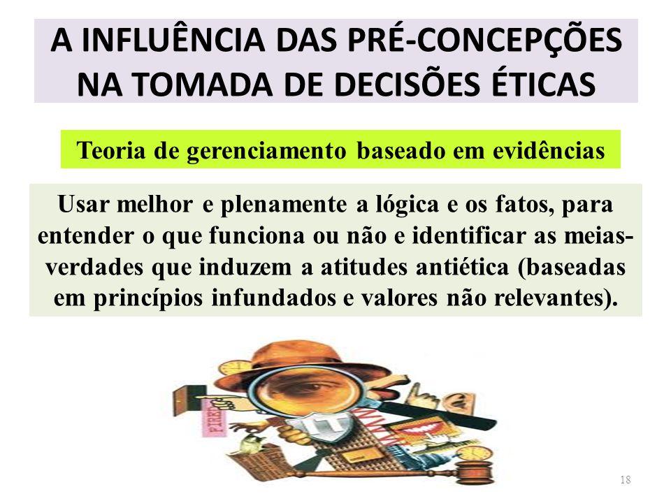 A INFLUÊNCIA DAS PRÉ-CONCEPÇÕES NA TOMADA DE DECISÕES ÉTICAS 18 Teoria de gerenciamento baseado em evidências Usar melhor e plenamente a lógica e os f