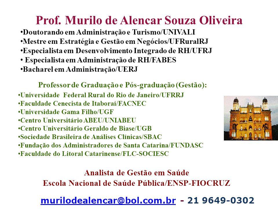 Prof. Murilo de Alencar Souza Oliveira Doutorando em Administração e Turismo/UNIVALI Mestre em Estratégia e Gestão em Negócios/UFRuralRJ Especialista