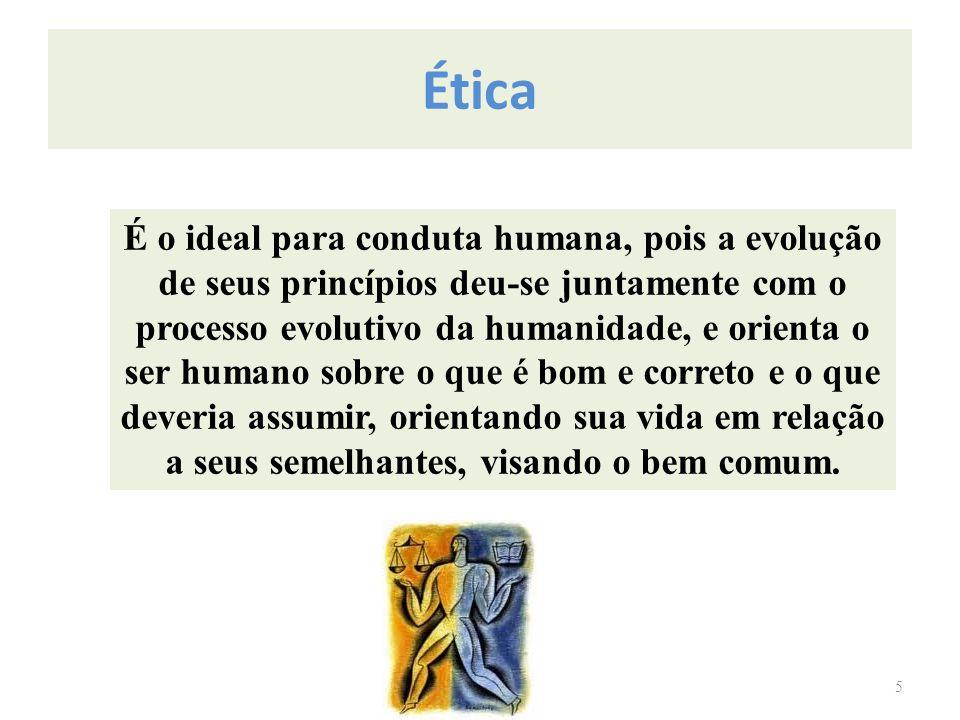 Ética 5 É o ideal para conduta humana, pois a evolução de seus princípios deu-se juntamente com o processo evolutivo da humanidade, e orienta o ser hu