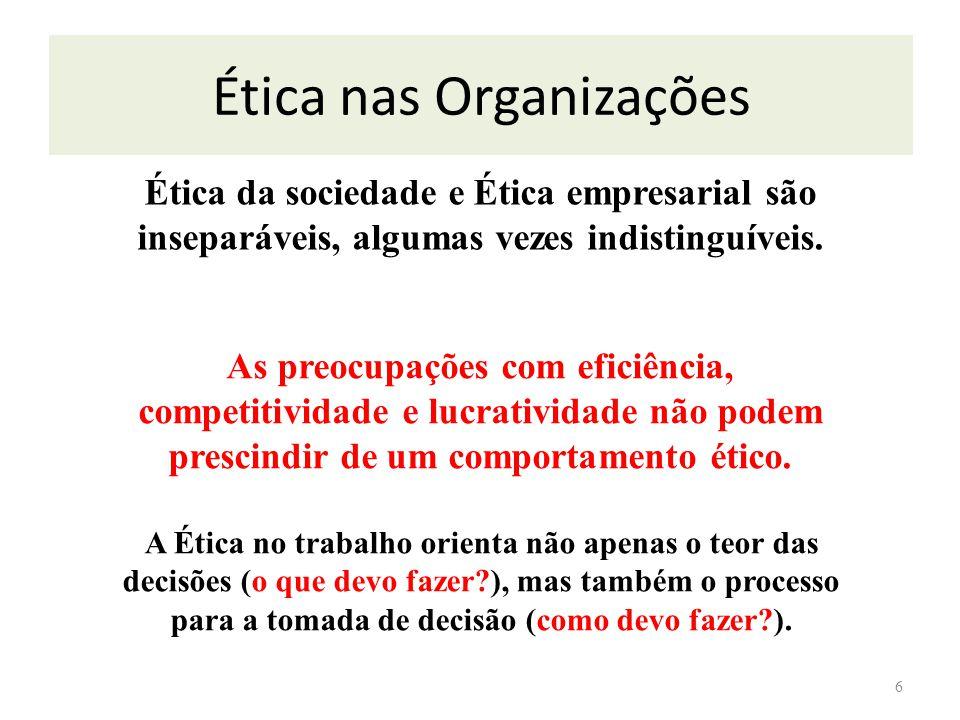 6 Ética da sociedade e Ética empresarial são inseparáveis, algumas vezes indistinguíveis. As preocupações com eficiência, competitividade e lucrativid