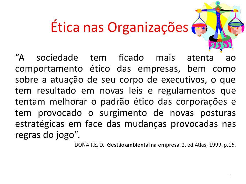 Comportamento ético 8 Cada indivíduo tem o seu próprio padrão de valores.