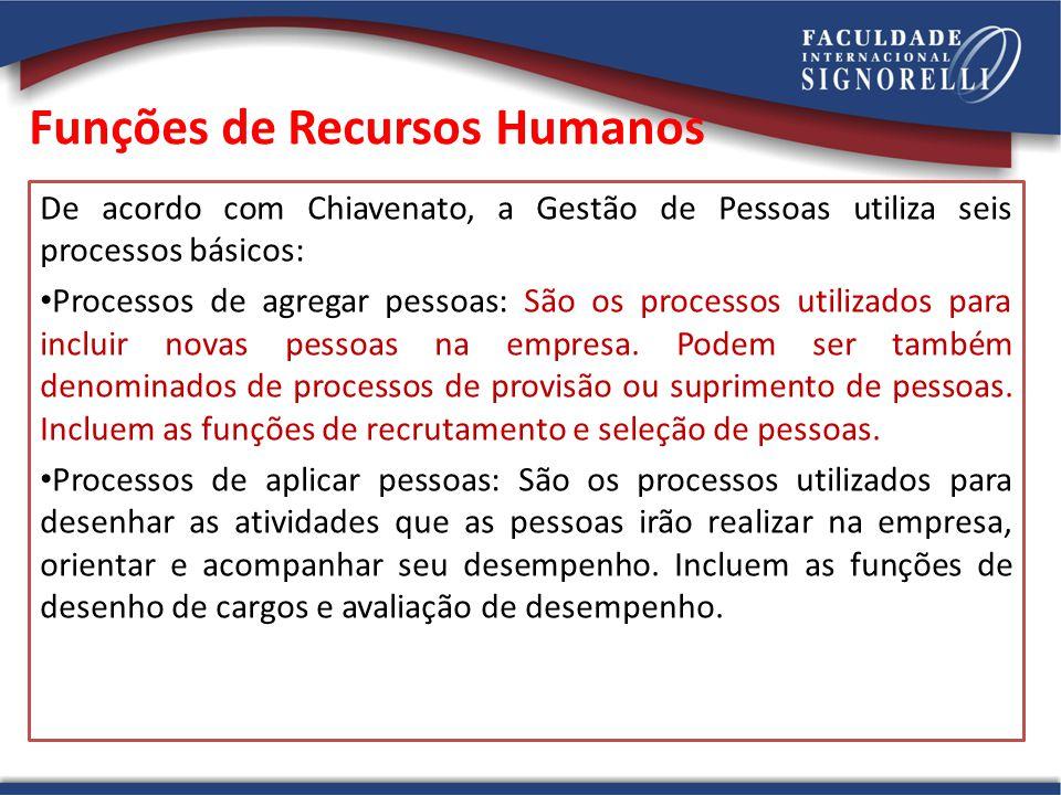 Funções de Recursos Humanos De acordo com Chiavenato, a Gestão de Pessoas utiliza seis processos básicos: Processos de agregar pessoas: São os process