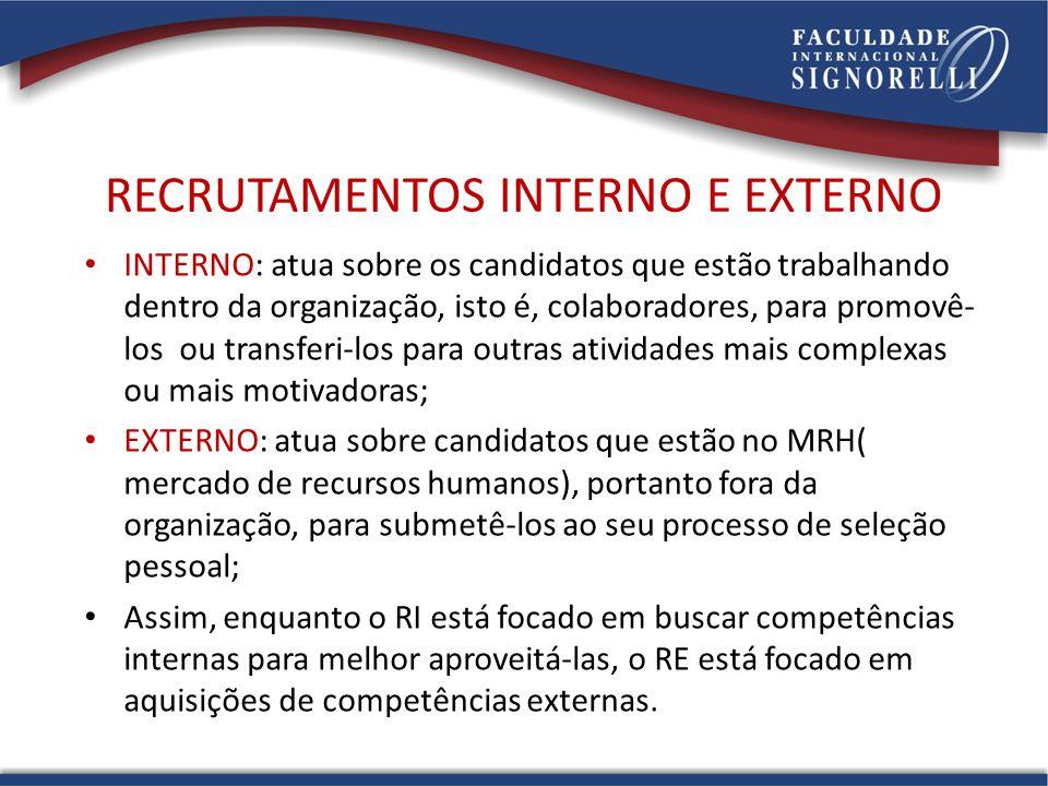 RECRUTAMENTOS INTERNO E EXTERNO INTERNO: atua sobre os candidatos que estão trabalhando dentro da organização, isto é, colaboradores, para promovê- lo