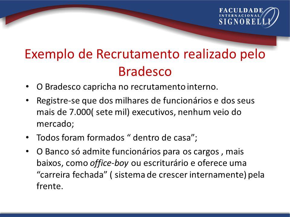 Exemplo de Recrutamento realizado pelo Bradesco O Bradesco capricha no recrutamento interno. Registre-se que dos milhares de funcionários e dos seus m