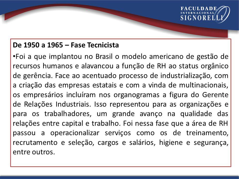 De 1950 a 1965 – Fase Tecnicista Foi a que implantou no Brasil o modelo americano de gestão de recursos humanos e alavancou a função de RH ao status o