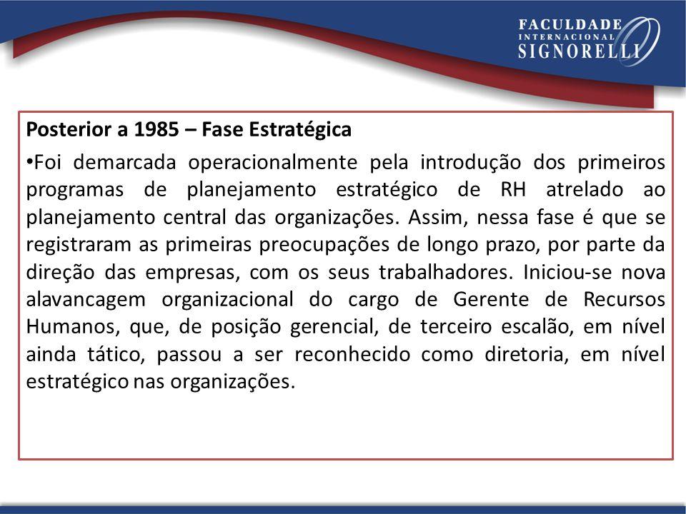 Posterior a 1985 – Fase Estratégica Foi demarcada operacionalmente pela introdução dos primeiros programas de planejamento estratégico de RH atrelado