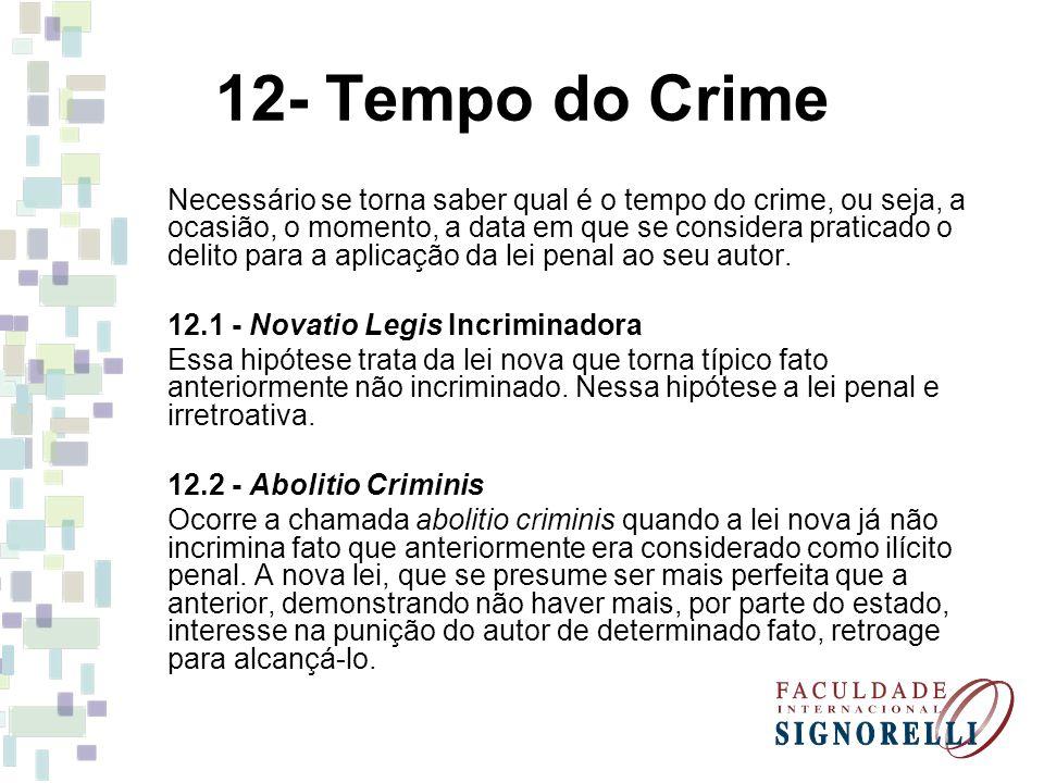 12- Tempo do Crime Necessário se torna saber qual é o tempo do crime, ou seja, a ocasião, o momento, a data em que se considera praticado o delito par