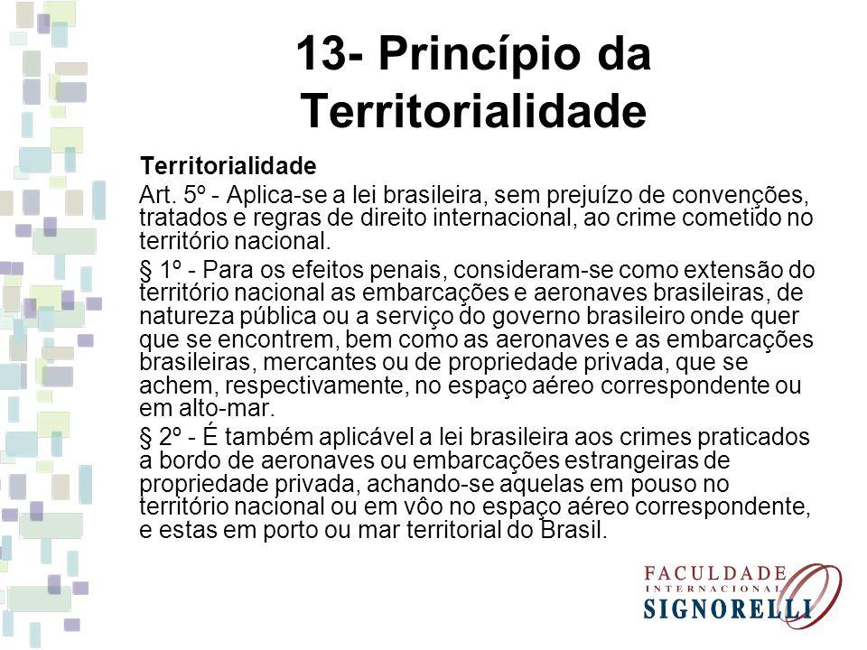 13- Princípio da Territorialidade Territorialidade Art. 5º - Aplica-se a lei brasileira, sem prejuízo de convenções, tratados e regras de direito inte