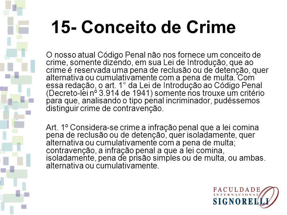 15- Conceito de Crime O nosso atual Código Penal não nos fornece um conceito de crime, somente dizendo, em sua Lei de Introdução, que ao crime é reser