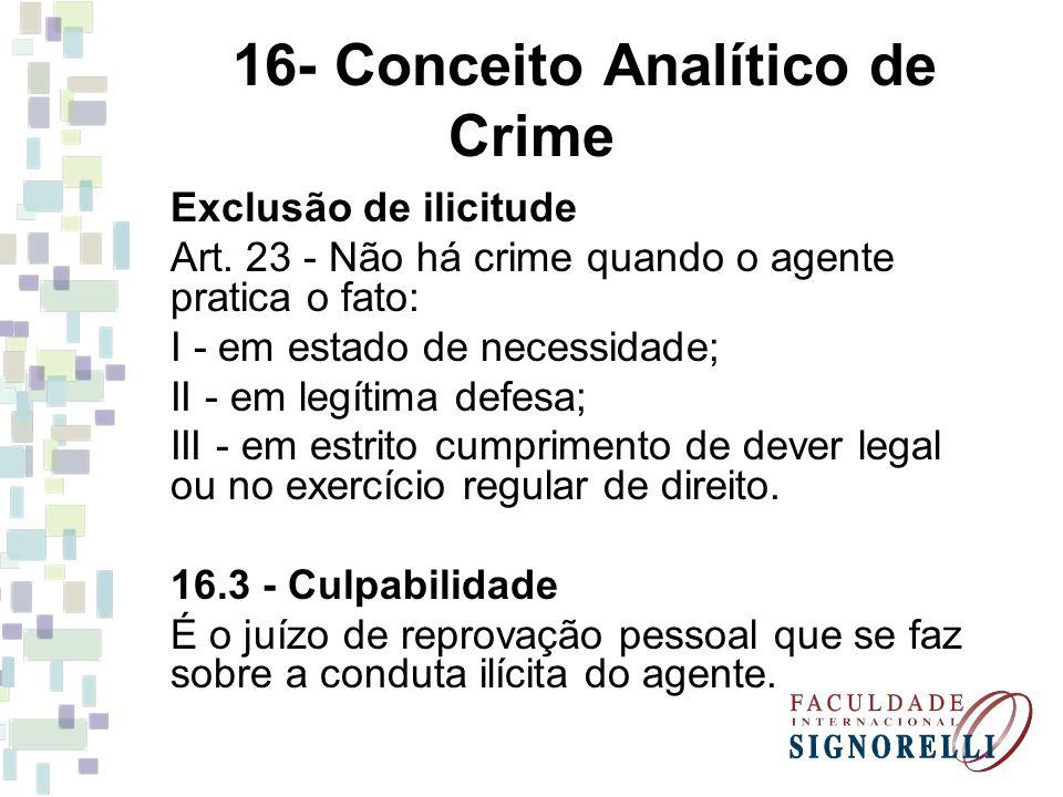 16- Conceito Analítico de Crime Exclusão de ilicitude Art. 23 - Não há crime quando o agente pratica o fato: I - em estado de necessidade; II - em leg