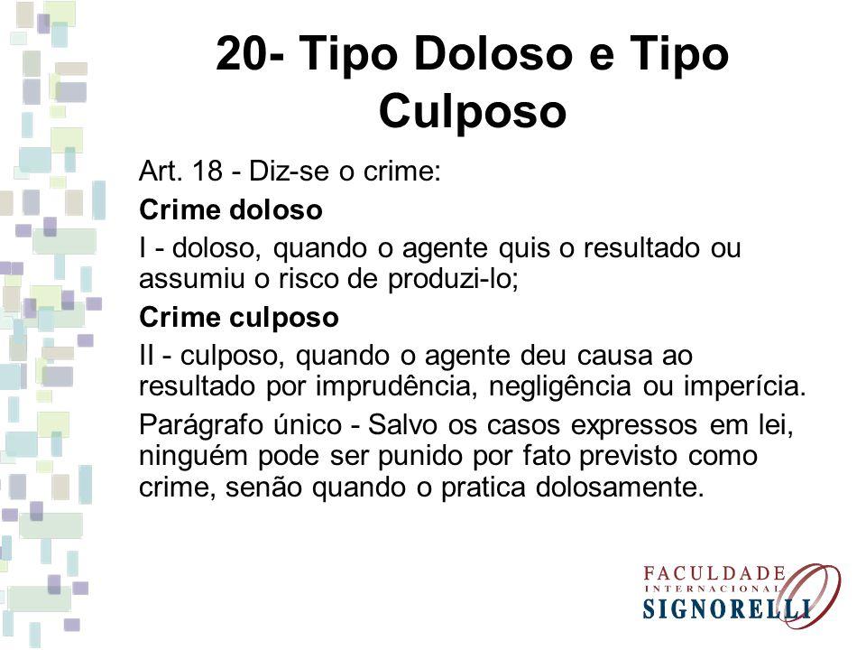 20- Tipo Doloso e Tipo Culposo Art. 18 - Diz-se o crime: Crime doloso I - doloso, quando o agente quis o resultado ou assumiu o risco de produzi-lo; C