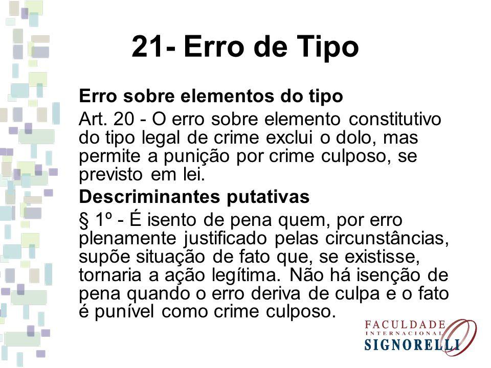 21- Erro de Tipo Erro sobre elementos do tipo Art. 20 - O erro sobre elemento constitutivo do tipo legal de crime exclui o dolo, mas permite a punição