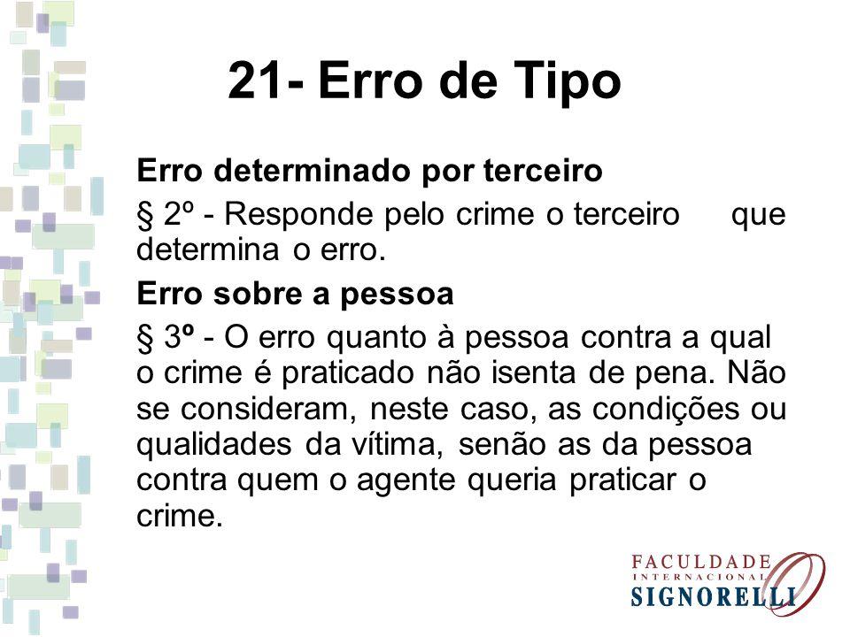 21- Erro de Tipo Erro determinado por terceiro § 2º - Responde pelo crime o terceiro que determina o erro. Erro sobre a pessoa § 3º - O erro quanto à