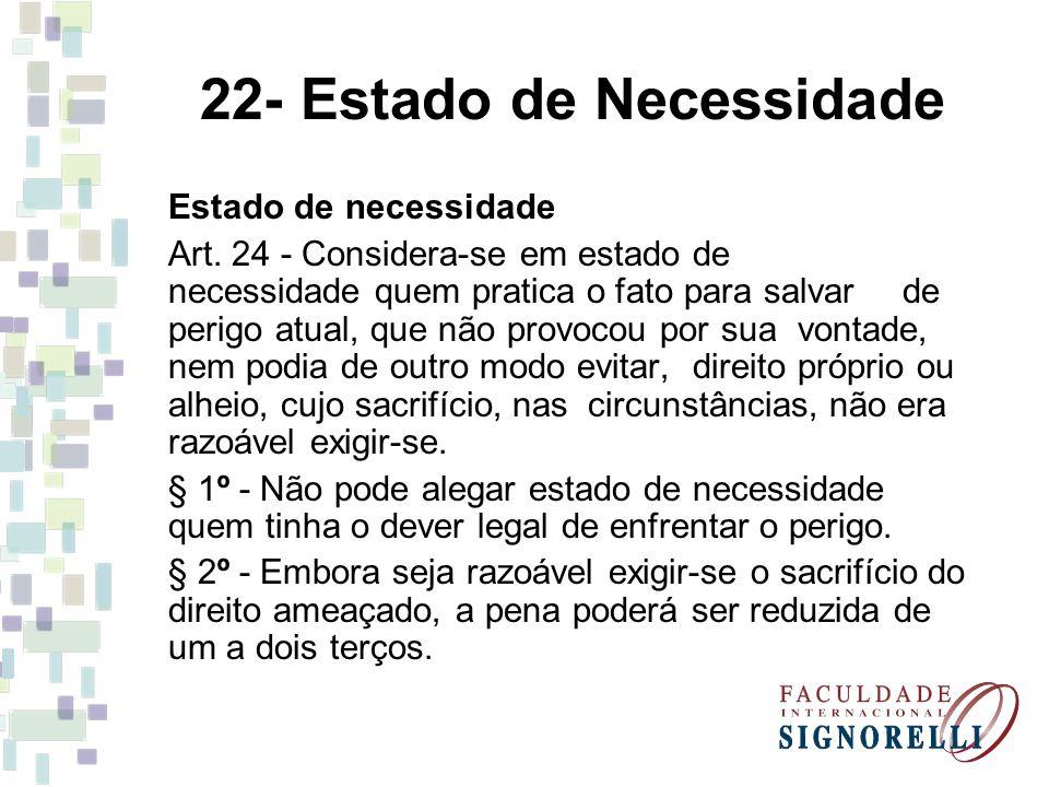 22- Estado de Necessidade Estado de necessidade Art. 24 - Considera-se em estado de necessidade quem pratica o fato para salvar de perigo atual, que n