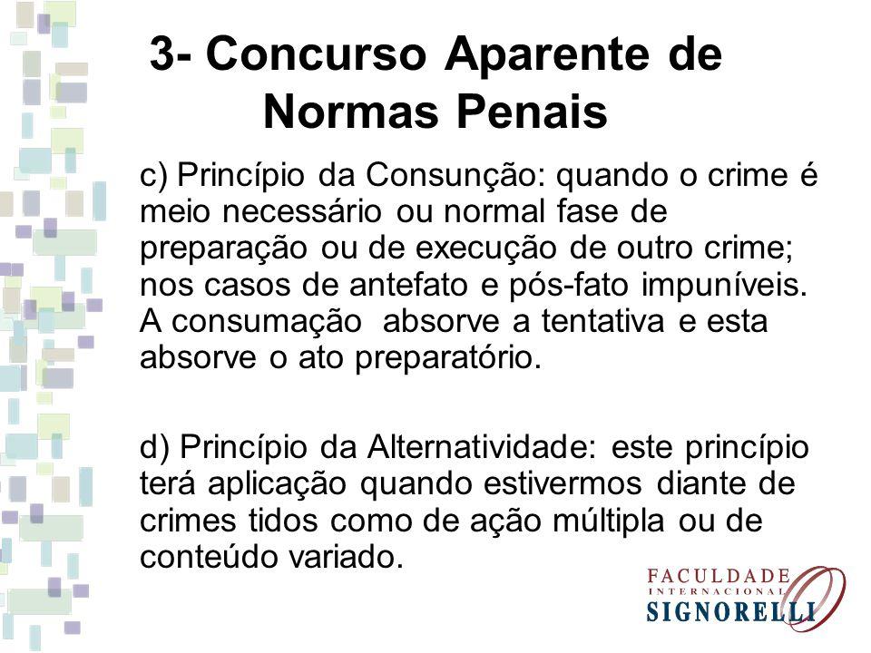 3- Concurso Aparente de Normas Penais c) Princípio da Consunção: quando o crime é meio necessário ou normal fase de preparação ou de execução de outro