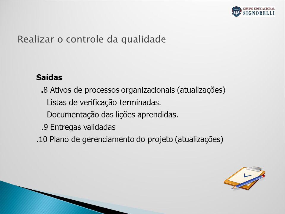 Realizar o controle da qualidade Saídas.8 Ativos de processos organizacionais (atualizações) Listas de verificação terminadas.