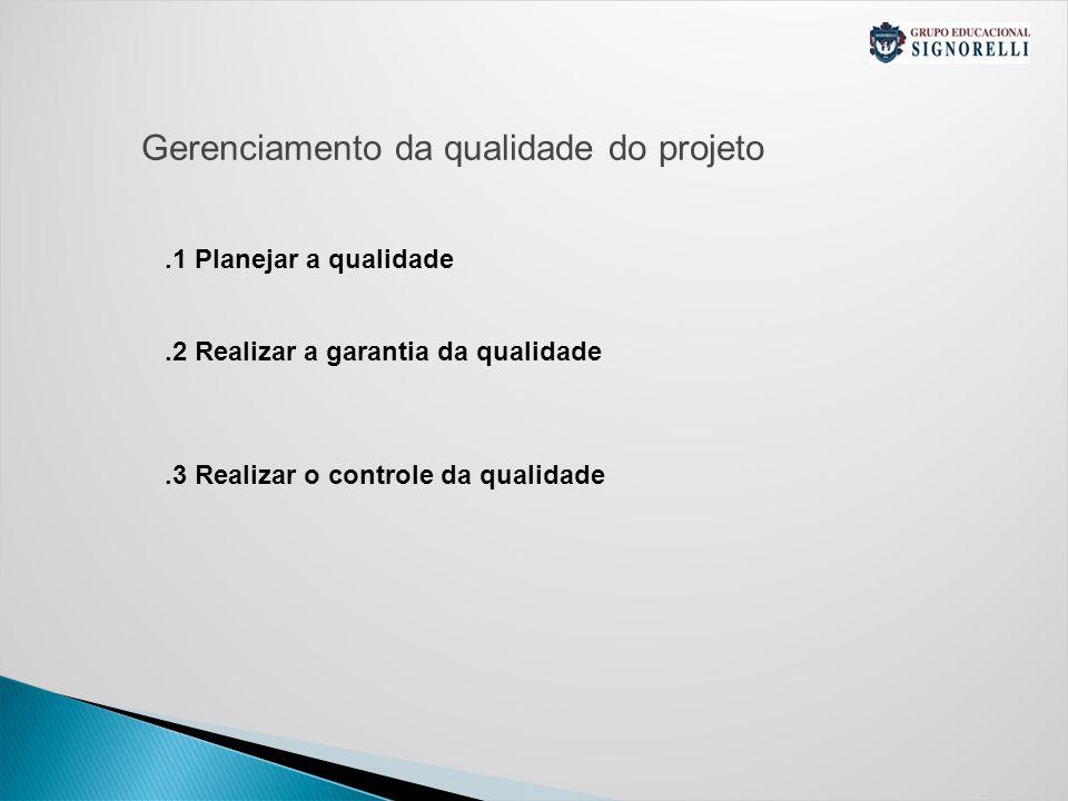 Gerenciamento da qualidade do projeto.1 Planejar a qualidade.2 Realizar a garantia da qualidade.3 Realizar o controle da qualidade