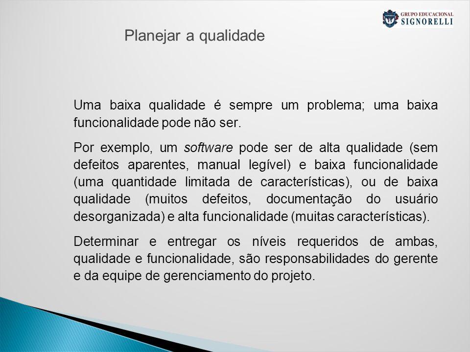 Planejar a qualidade Uma baixa qualidade é sempre um problema; uma baixa funcionalidade pode não ser.
