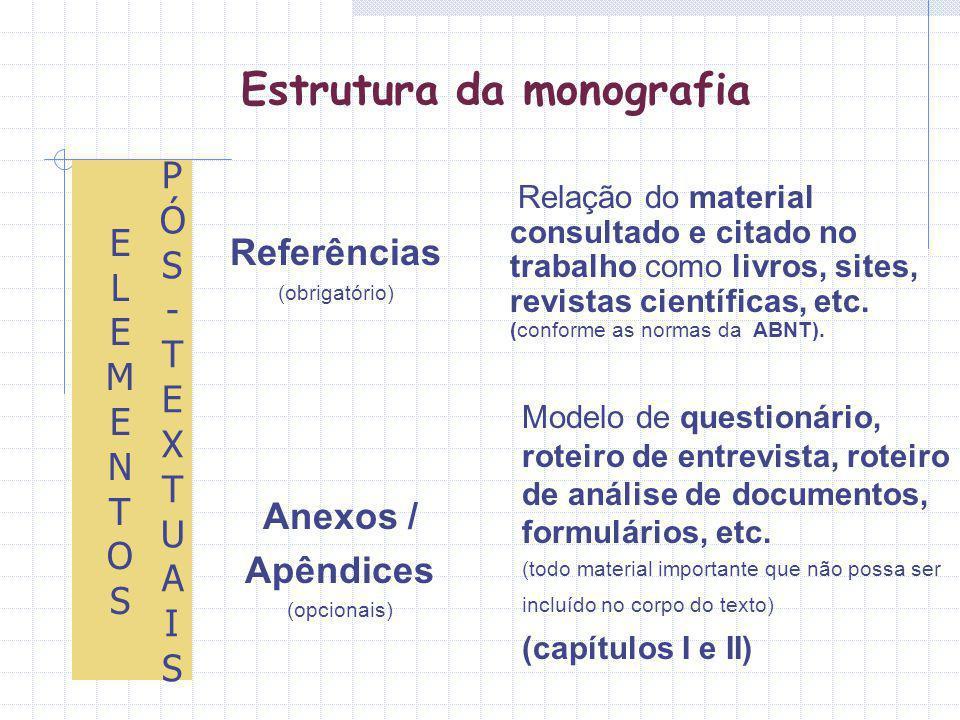 Estrutura da monografia Relação do material consultado e citado no trabalho como livros, sites, revistas científicas, etc. (conforme as normas da ABNT