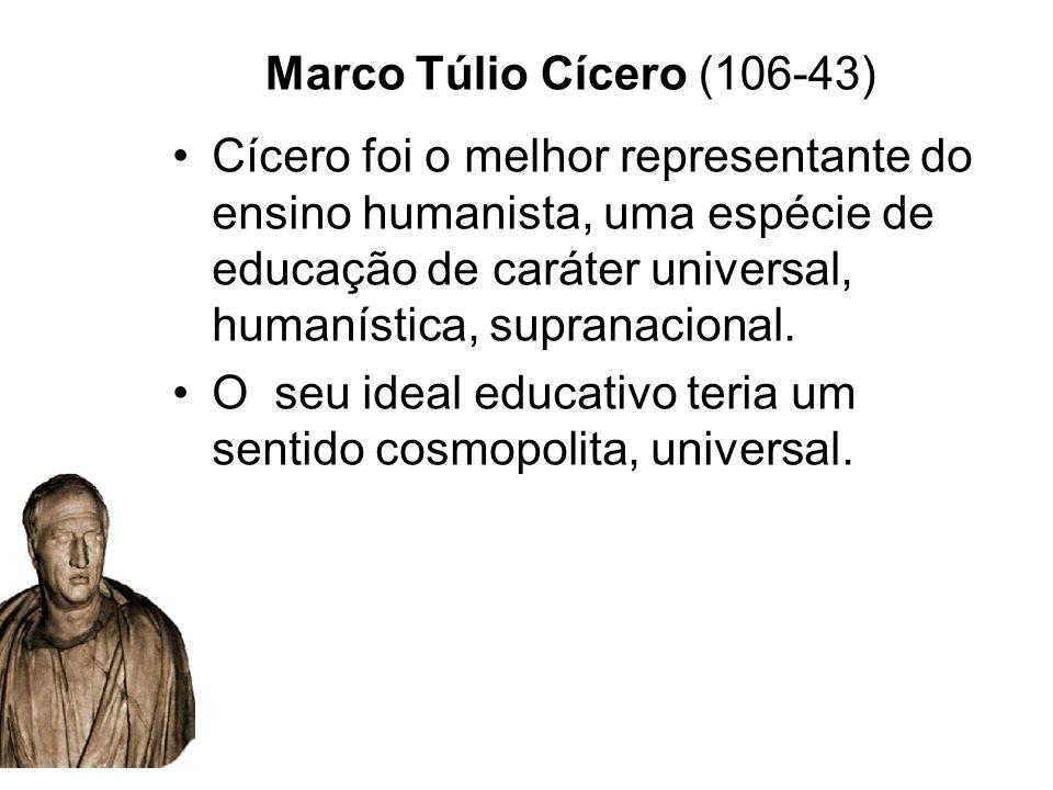 Marco Túlio Cícero (106-43) Cícero foi o melhor representante do ensino humanista, uma espécie de educação de caráter universal, humanística, supranac