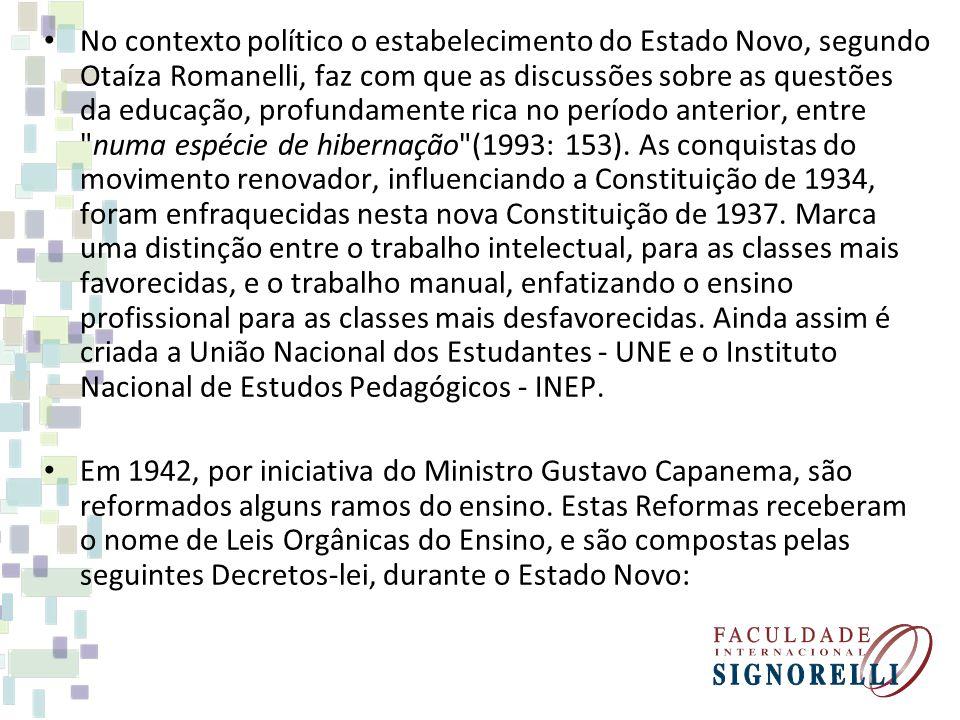 No contexto político o estabelecimento do Estado Novo, segundo Otaíza Romanelli, faz com que as discussões sobre as questões da educação, profundament