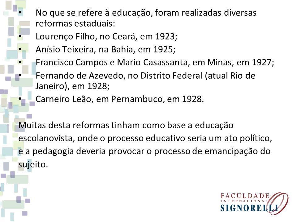 No que se refere à educação, foram realizadas diversas reformas estaduais: Lourenço Filho, no Ceará, em 1923; Anísio Teixeira, na Bahia, em 1925; Fran