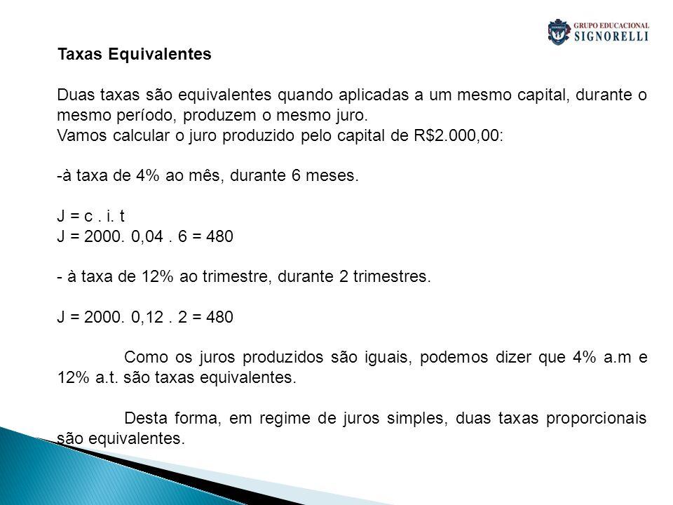 Taxas Equivalentes Duas taxas são equivalentes quando aplicadas a um mesmo capital, durante o mesmo período, produzem o mesmo juro. Vamos calcular o j
