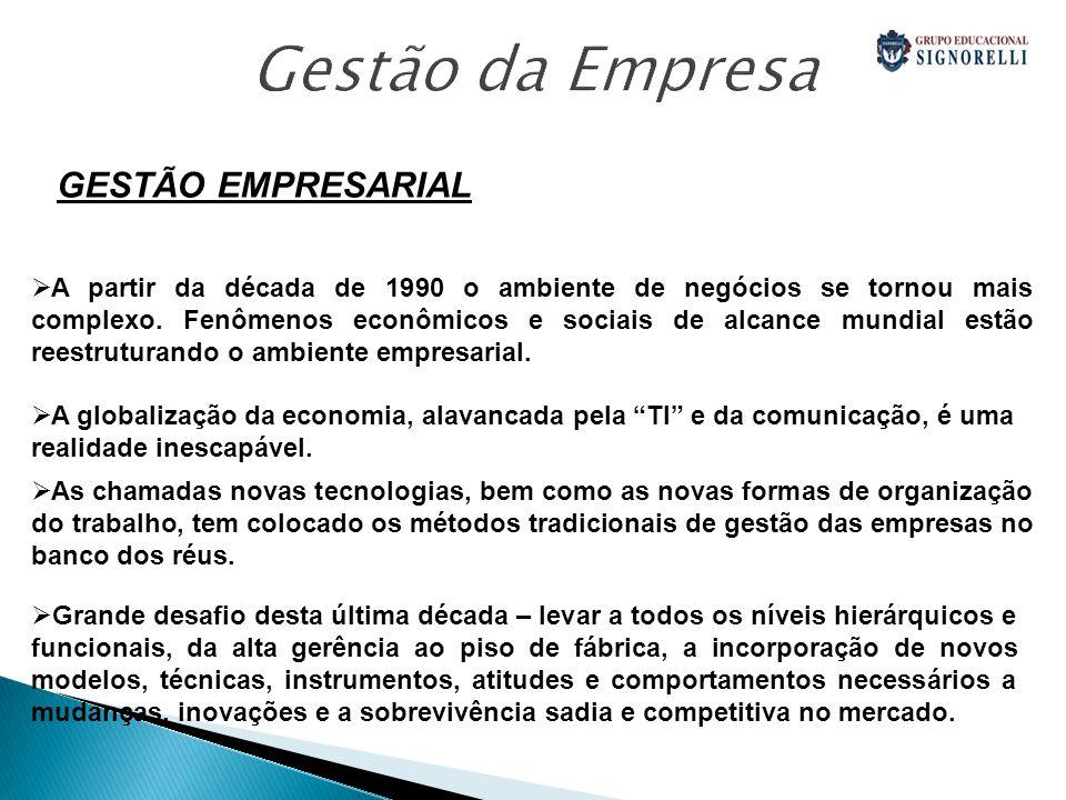 GESTÃO EMPRESARIAL A partir da década de 1990 o ambiente de negócios se tornou mais complexo.