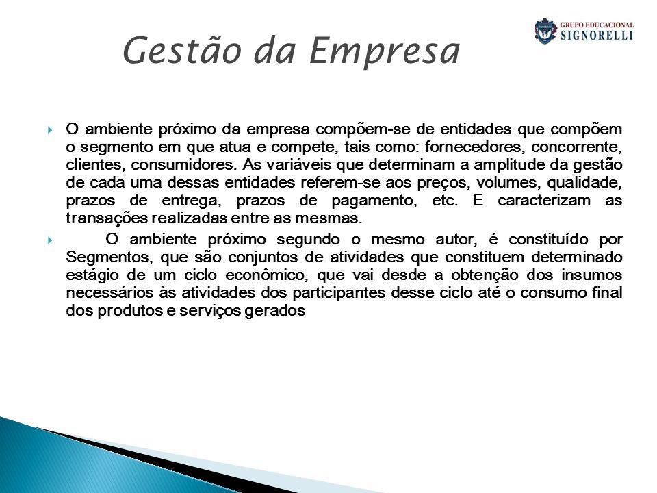 O ambiente próximo da empresa compõem-se de entidades que compõem o segmento em que atua e compete, tais como: fornecedores, concorrente, clientes, consumidores.