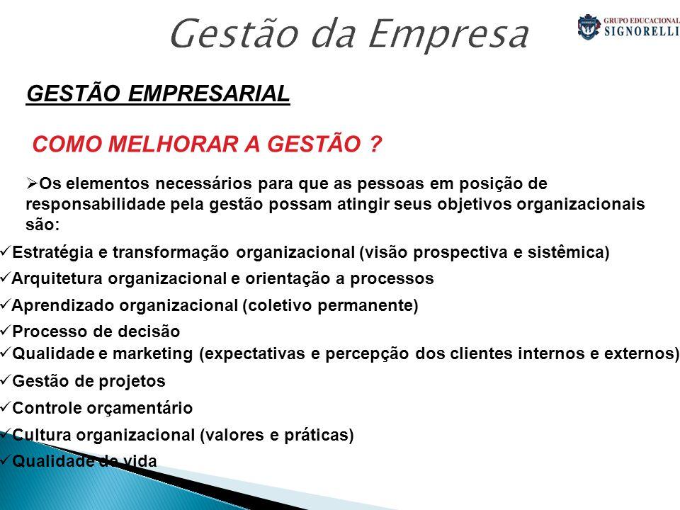 Gestão da Empresa GESTÃO EMPRESARIAL COMO MELHORAR A GESTÃO .