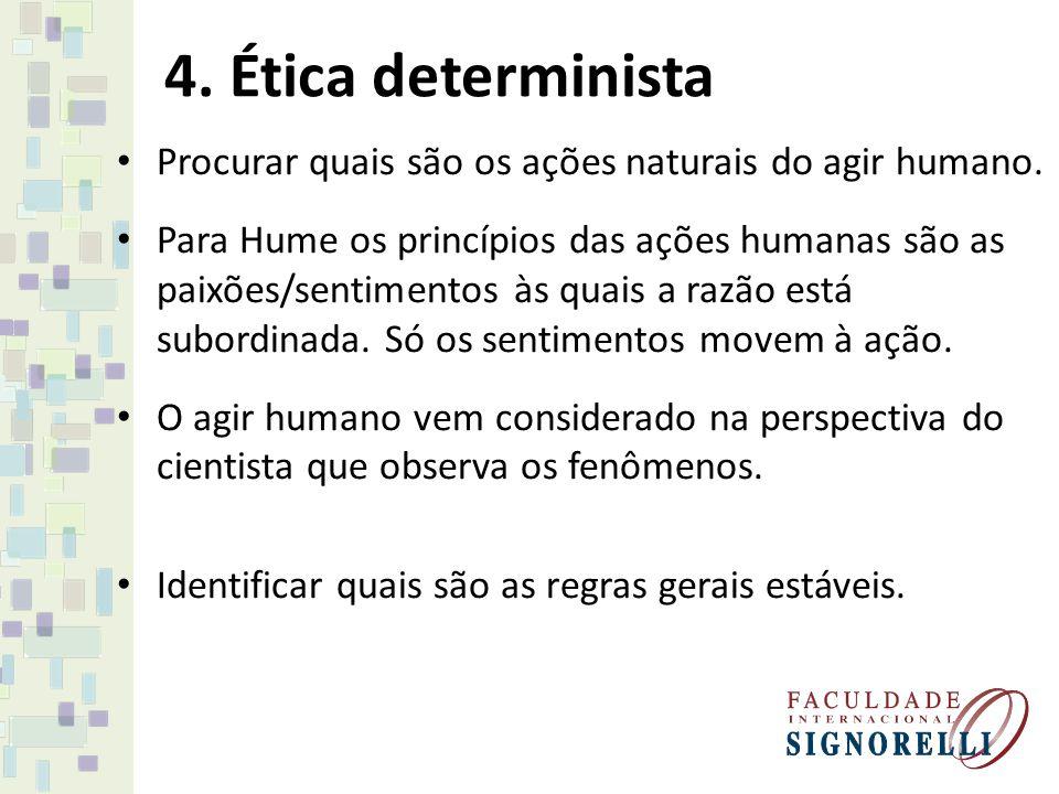4. Ética determinista Procurar quais são os ações naturais do agir humano. Para Hume os princípios das ações humanas são as paixões/sentimentos às qua