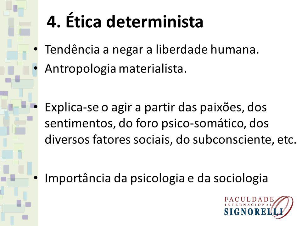 4. Ética determinista Tendência a negar a liberdade humana. Antropologia materialista. Explica-se o agir a partir das paixões, dos sentimentos, do for