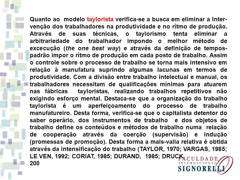 Quanto ao modelo taylorista verifica-se a busca em eliminar a Inter- venção dos trabalhadores na produtividade e no rítmo de produção. Através de suas